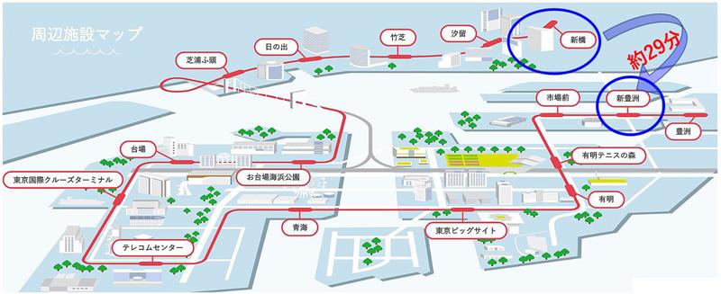 東京臨海新交通臨海線ゆりかもめ線の路線図